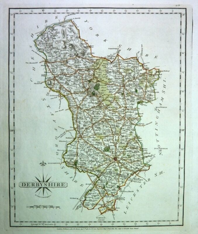 Antique map, Derbyshire ..