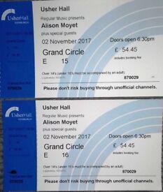 Alison Moyet Concert Tickets, Usher Hall, Edinburgh, 2nd November 2017