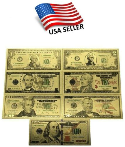 24K Gold Foil 7 Piece USA Money Set