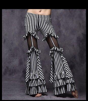 D175 Bauchtanz Kostüm Tribal Vintage Hose Gestreift Belly Dance Pants Fasching