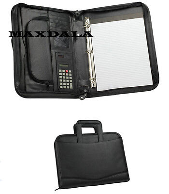 3-ring Binder Zippered Padfolio Briefcase Binder Notepad Calculator Organizer