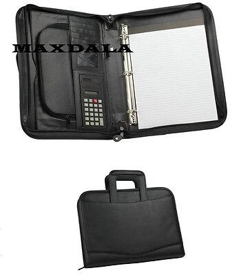 3-ring Binder Zippered Padfolio Briefcase Binder Notepad Calculator Organizer
