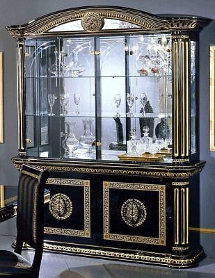 Versace Style Italian High Gloss 4 Door Display Cabinet