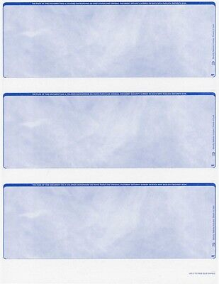 Blank Check Stock - 300 checks Blank Security Check Stock Paper - 3 Per Page - (Marble Blue)