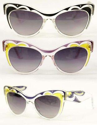 Cat Eye Brille Sonnenbrille 50er Jahre Vintage Rockabilly verziert clear 600