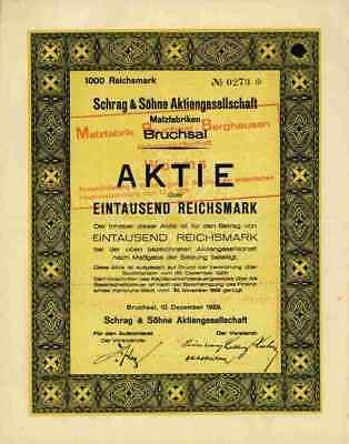 Schrag & Söhne Malzfabrik 1929 Bruchsal Worms Berghausen Rheinzabern Württemberg