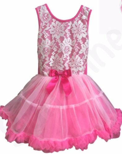 Popatu Pink Tutu Dress, White Lace Overlay, Girls Sz 6X-7, Three Layers Lined