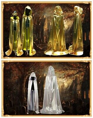 Adults Golden Silver Vampires Witch Wizard Cloak Costume Halloween Cosplay - Witches Cloak