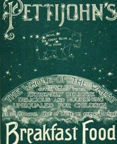 1898 Pettijohn Breakfast Food Cereal AD Bear Constellation Earth Stars Moon 4035