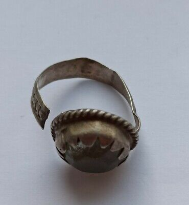 BEAUTIFUL POST MEDIEVAL SILVER ISLAMIC SEAL RING WITH STONE INSERT 1700-1800 AD