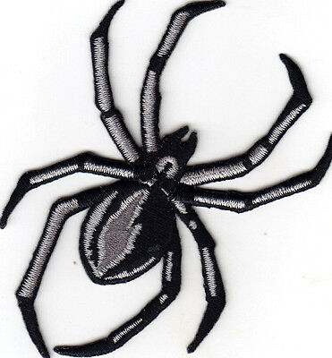 "SPIDER, BLACK WIDOW(4 1/4 "")- INSECT - BUG - IRON ON EMBROIDERED APPLIQUE PATCH"