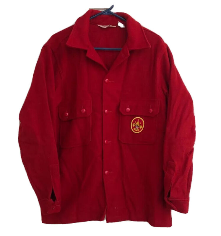 Vintage Boy Scouts Of America Men's official Wool Jacket Button Up 44 Large RED