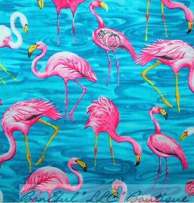 BonEful Fabric Cotton Blue Water Pink Flamingo Bird Florida Beach Flower L SCRAP