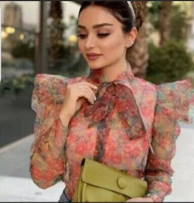 Zara Floral Print Organza Blouse Top Size M