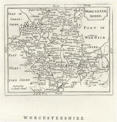 c1780 Original Antique Map WORCESTERSHIRE by John Seller / Francis Grose (GR)