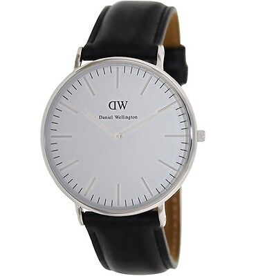 New Daniel Wellington 0206DW Classic Men's Sheffield Silver Black Wrist Watch