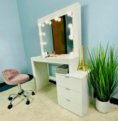 Dressing Vanity Table with Mirror and 3 Drawers, White finish Bulb Light