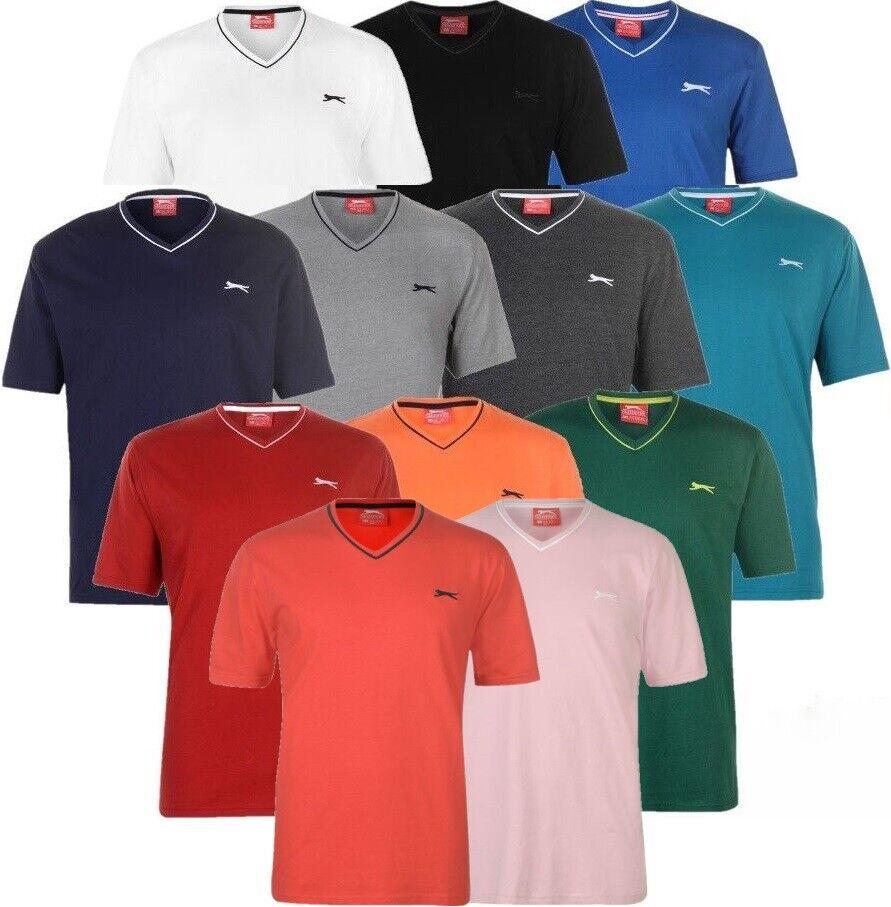✅ SLAZENGER Herren T-Shirt V Ausschnitt Neck Freizeit Fitness Sport Sommer Hemd