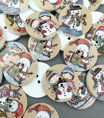 Round Snowman ( Christmas snowman Round Wooden Sewing Buttons scrapbooking decoration)