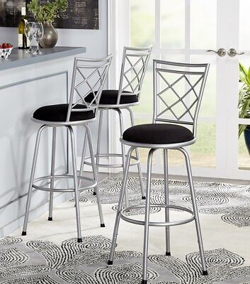 Swivel Bar Stools 3 Adjustable Height Kitchen Chairs Counter Stool Tall Silver ()