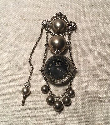 Antique Victorian Sterling Silver Agassiz Geneva Watch Chatelaine - Geneve Sterling Silver Pocket Watch