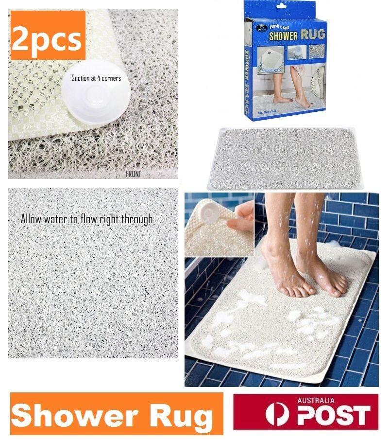 2pcs Shower Rug Bathmat Aqua Rug HYDRO Anti Slip Drain