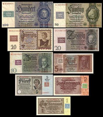 *** 1 - 100 DDR Mark - Kuponausgabe 1948 - 9 Banknoten - Reproduktion ***