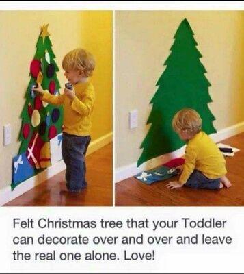 Felt Christmas Tree 3ft 90cm With Ornaments Door Wall Hanging Kids DIY Craft UK