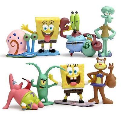 Spongebob Squarepants Playset 8 Figure Cake Topper * USA SELLER* Toy Doll Set - Spongebob Cake Toppers