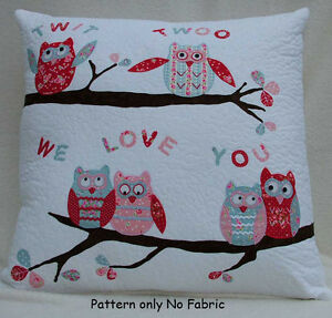 PATCHWORK / QUILTING APPLIQUE TWIT TWOO OWL CUSHIONS SEWING PATTERN by Gail