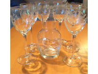 6 etched wine glasses and jug