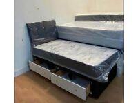 Divan Crushed Velvet 3ft Single Size Beds Optional
