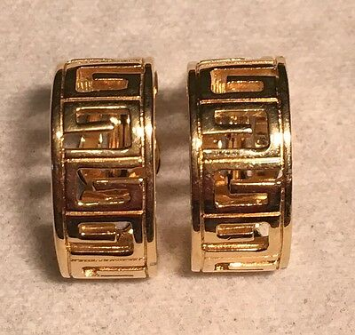 """Vintage Signed GIVENCHY PARIS NEW YORK GOLD Tone Greek Key """"G"""" Clip Earrings"""