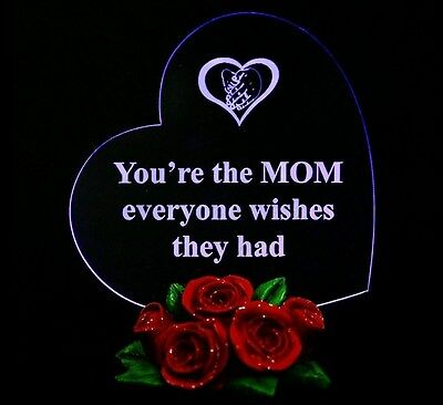 Christmas Gift for Mom Heart Shaped LED Light, with Roses Mother Gifts