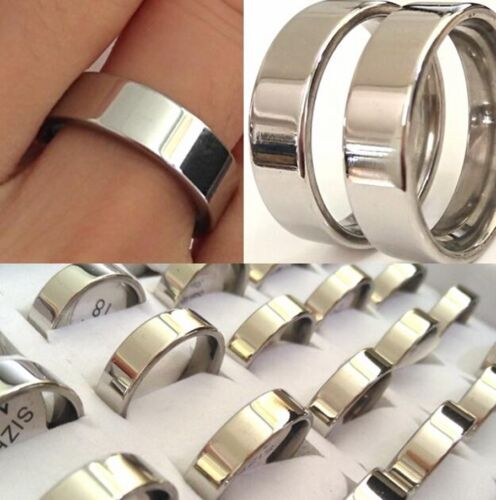 Wholesale Bulk Lots 100 Plain 6mm 316L Stainless Steel Rings Lovers Couples Ring