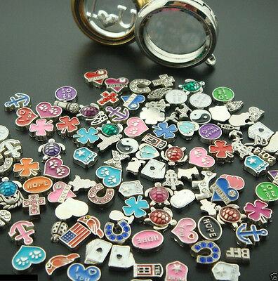 Wholesale Bulk 50PCS Lot Mix floating charm for glass living memory locket Hot (Floating Lockets Wholesale)