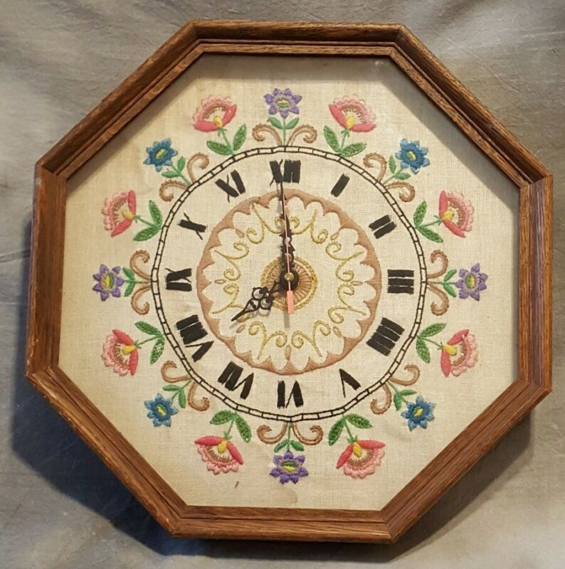 Vintage Folk Art Needlework Clock Embroidery Cross Stitch Flowers in Frame Glass
