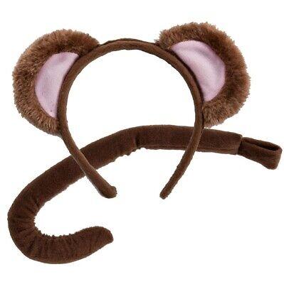 Tier Affe Modisches Kostüm-set Ohren auf Haarreif & Schwanz Satz Braun von