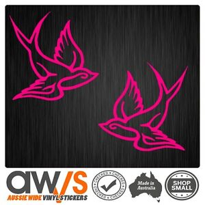 BIRD SWALLOW STICKER DECAL LEFT & RIGHT 135mm  / TATTOO FOR GIRLS CAR CUTE LOVE