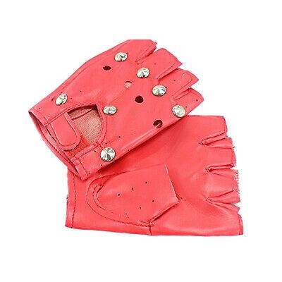 Cool Punk Women Soft Leather Fingerless Driving Motorbicycle Biker Gloves Black