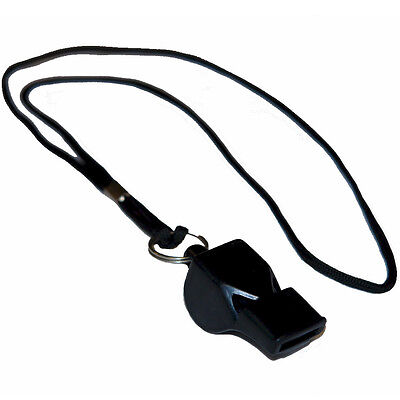 WORKOUTZ BLACK ECONOMY COACHING WHISTLE WITH LANYARD PE SOCCER SPORTS REFEREE