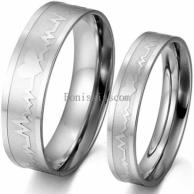 Stainless Steel Matching Heart Beat EKG Forever Love Ring Couples Wedding Band](Dead Hearts Wedding)