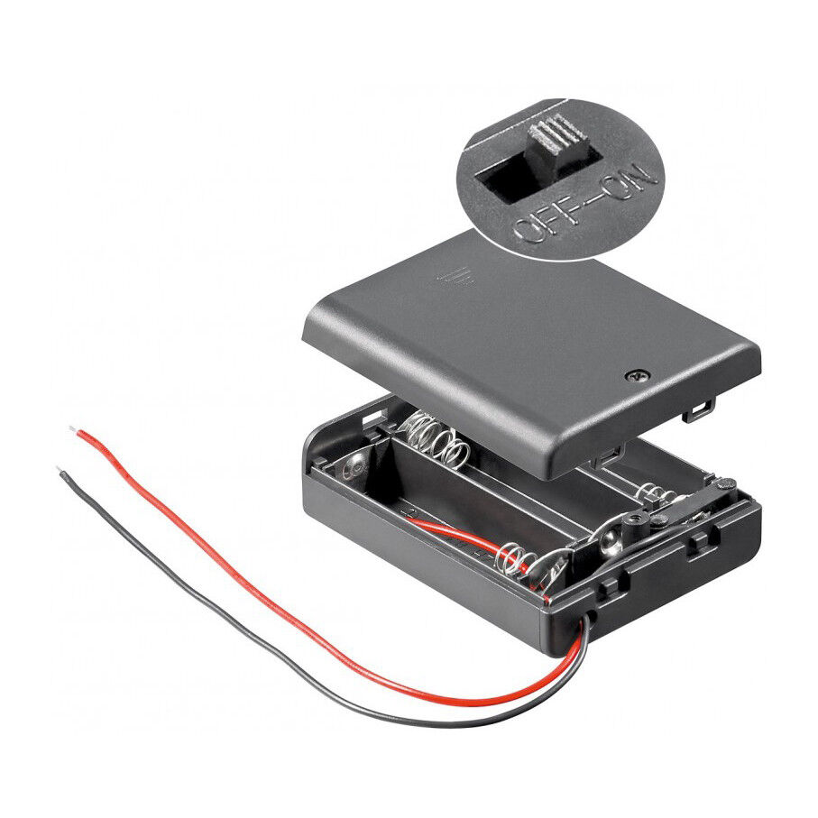 3x Batteriehalter für 3x Mignon AA Akkuhalter Batteriefach mit Schalter Ein Aus