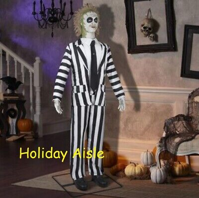 GEMMY 6 FT ANIMATED BEETLEJUICE Halloween Prop ROTATING HEAD Movie Quotes](Halloween Animated Movie)