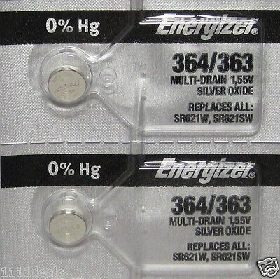 Button Cell Type 364 Zero Mercury Battery Energizer 2 -