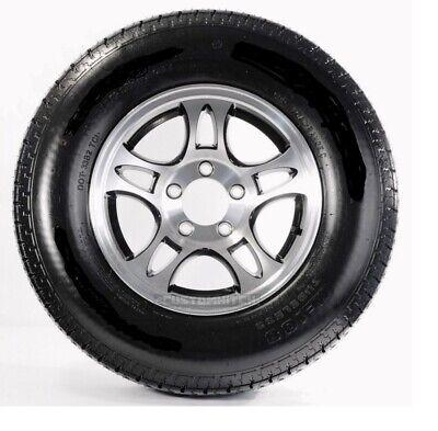 Trailer Tire and Rim ST205/75R14 LRC 5-4.5 Aluminum T03 Black Spoke covid 19 (Spoke Aluminum Trailer Tire coronavirus)