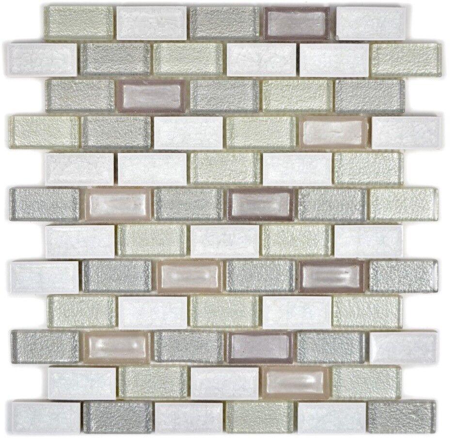 Détails sur Mosaïque brique céramique verre pierre arctique blanc mur  83IC-0211_f |10plaques