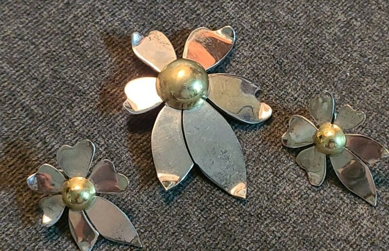 Vintage Signed 925 Mexico TG-259 Brooch Pin Post Earring Set 2 tone  24g