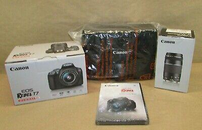 Canon EOS Rebel T7 SLR Camera Bundle w/18-55mm Lens, 70-300mm Lens, CD & Bag