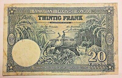 ==>>> Zeldzaam : 20 Francs 1949 Belgisch congo belge 20 frank Pick#15 <<<===